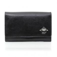 Crown Balck Leather Purse